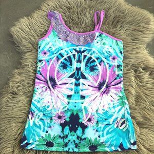 Justice sequined peace sign tank - size 18G